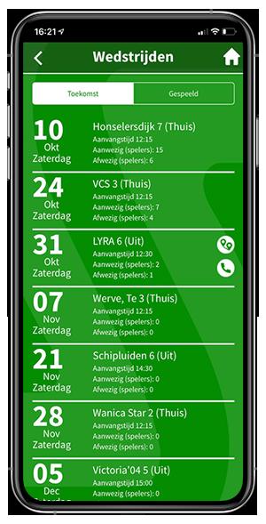 Koppeling met clubapplicatie - navigatie optie bij uit wedstrijden