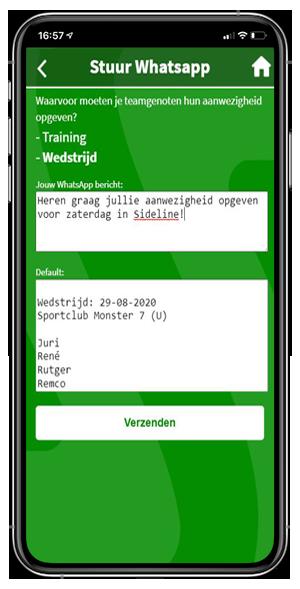 WhatsApp koppeling in Sideline